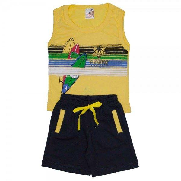 conjunto menino regata machao amarela e shorts de moletinho preto 7469