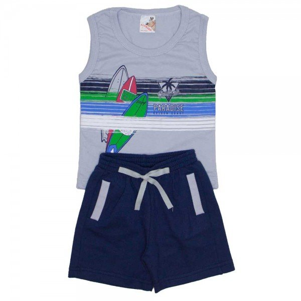 conjunto menino regata machao cinza e shorts de moletinho chumbo 7469