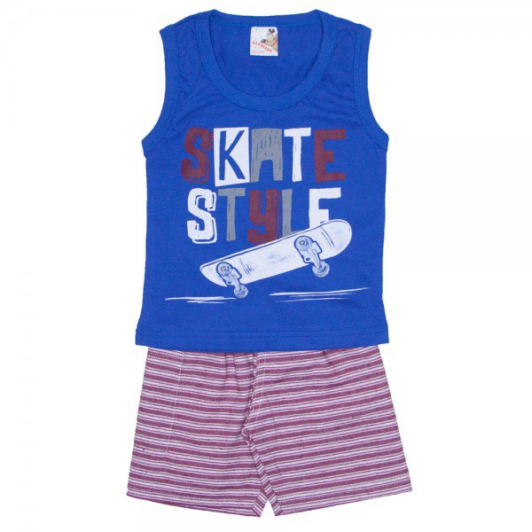 conjunto menino regata machao skate azul e shorts com bolso vermelho listrado 7468 01