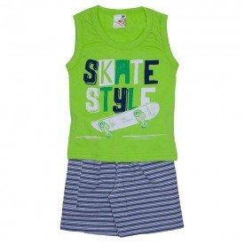 conjunto menino regata machao skate verde menta e shorts com bolso azul listrado 7468