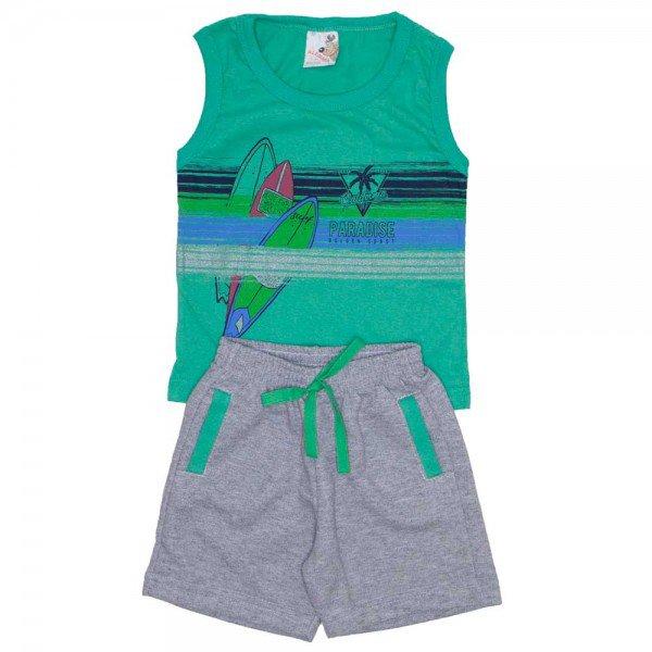 conjunto menino regata machao verde e shorts de moletinho mescla 7469