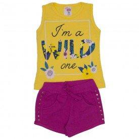 conjunto regata amarela wild com shorts vermelho de cotton com bolso strass e cordao 3465