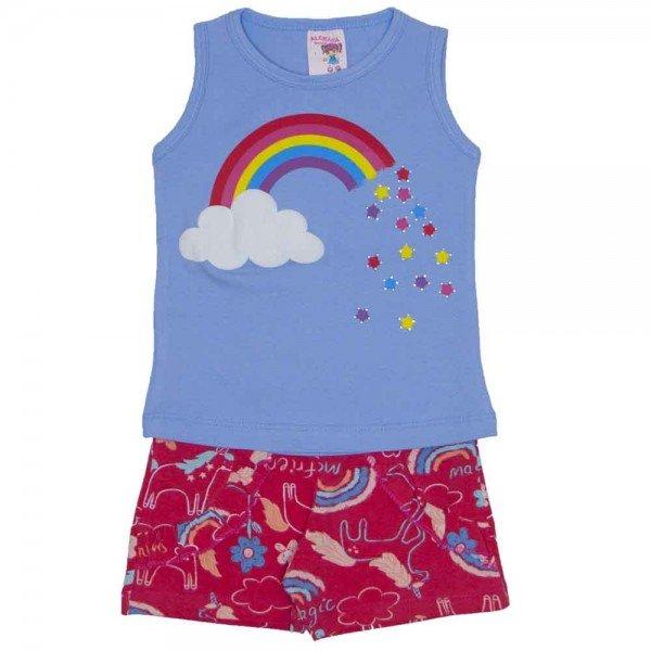 conjunto regata azul arco iris com strass e shorts estampado com babado 3460