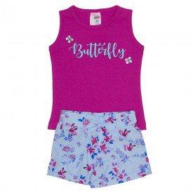 conjunto regata de cotton pink e shorts de tecido com bolso e laco 3462
