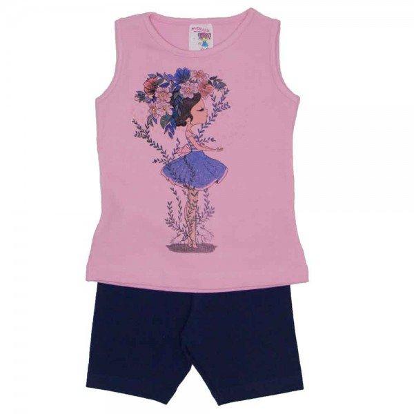 conjunto regata de cotton rosa e shorts preto 3463