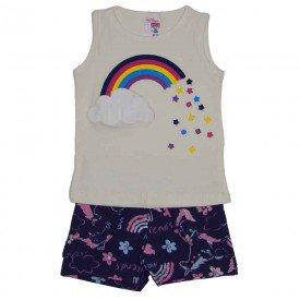 conjunto regata off white arco iris com strass e shorts estampado com babado 3460