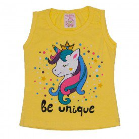 regata de cotton amarela unicornio be unique com strass 2472