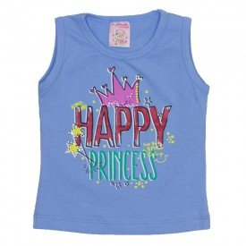 regata de cotton azul happy princess com strass 2475