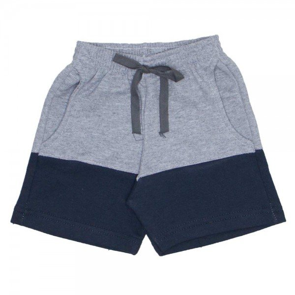 shorts de moletinho mescla com chumbo bolso frontal e cordao 7484