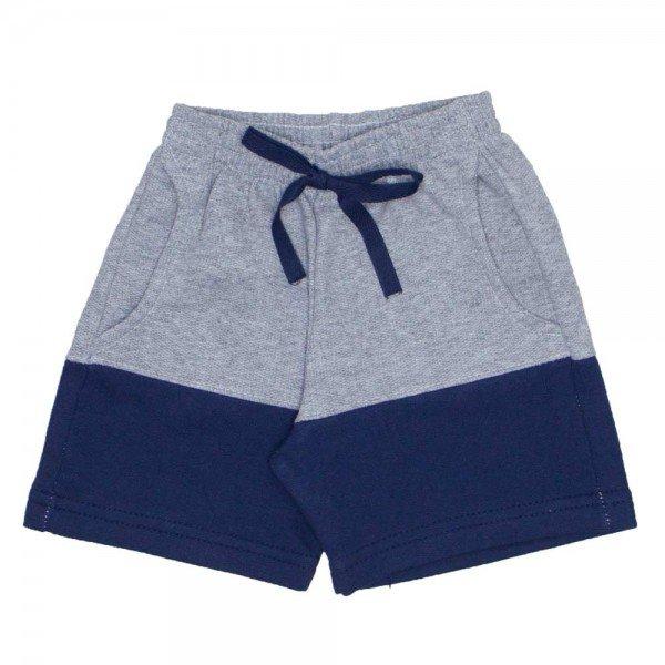 shorts de moletinho mescla com marinho bolso frontal e cordao 7484