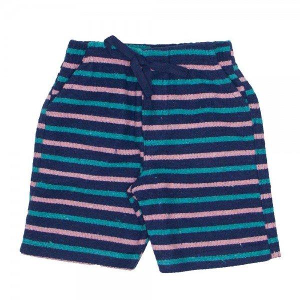 shorts de tecido pier listrado marinho coral e verde com bolso braguilha e cordao 7487