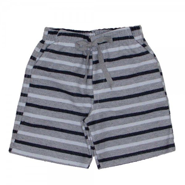 ed7b599a5b9cc2 Shorts de tecido pier listrado mescla, branco e preto com bolso, braguilha  e cordão 7487