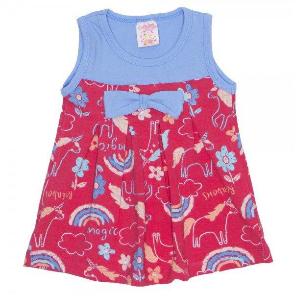 vestido de cotton estampado com laco azul com vermelho 2485