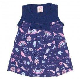 vestido de cotton estampado com laco azul marinho 2485