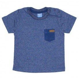 camiseta de mouline azul indigo com bolso e aplique 4037