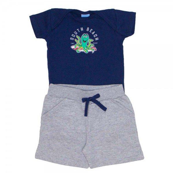 conjunto bebe menino body south beach marinho e bermuda de moletinho mescla 4033