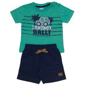 conjunto bebe menino camiseta verde sandbox e bermuda de moletinho marinho 4032