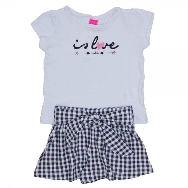 conjunto blusa de cotton branca is love e shorts saia xadrez 1150