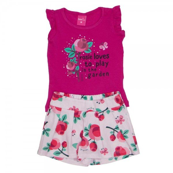 conjunto blusa de cotton pink e shorts de tricoline estampado 1149