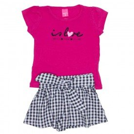 conjunto blusa de cotton pink is love e shorts saia xadrez preto 1150