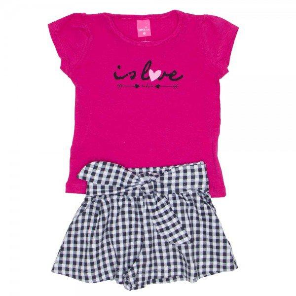 conjunto blusa de cotton pink is love e shorts saia xadrez preto 1150