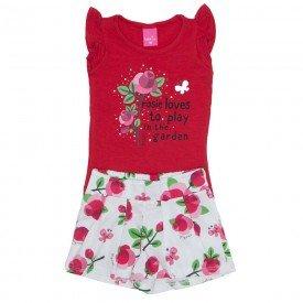 conjunto blusa de cotton vermelha e shorts de tricoline estampado 1149 02