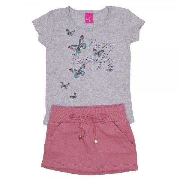 conjunto blusa meia malha mescla saia de moletom rosa blush e shorts 1151
