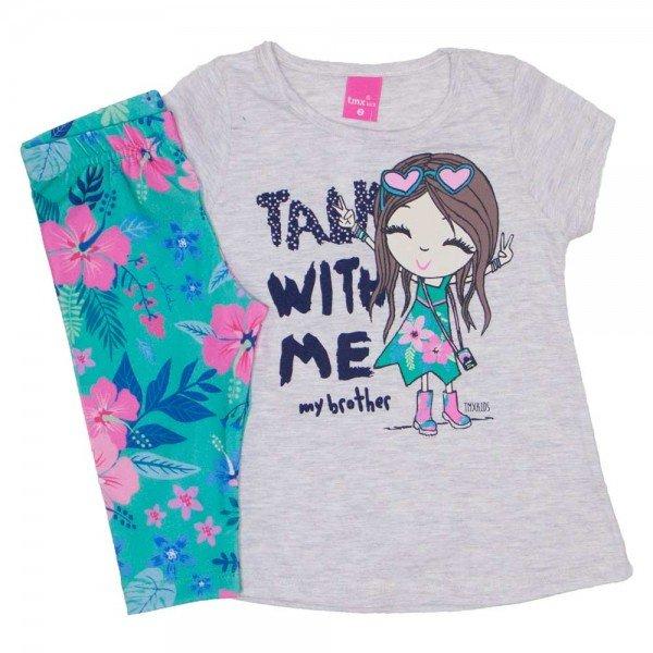 conjunto blusa meia malha mescla boneca e legging capri verde floral 1154 01