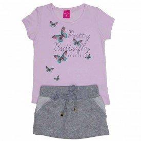 conjunto blusa meia malha rosa bebe saia de moletom mescla com shorts 1151