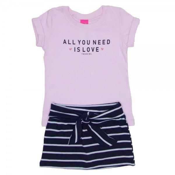 conjunto blusa rosa all you need is love e saia listrada marinho com shorts 1152