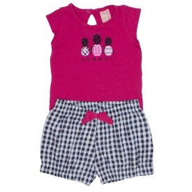 conjunto body de cotton pink e shorts de meia malha xadrez 0039