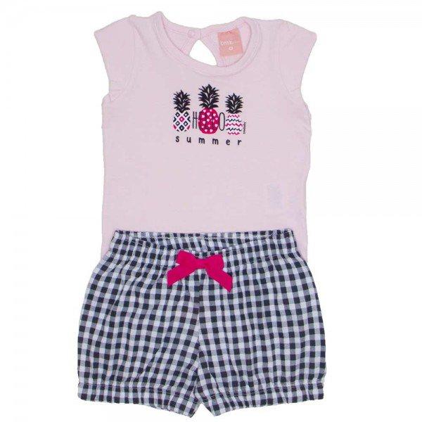 conjunto body de cotton rosa bebe e shorts de meia malha xadrez 0039