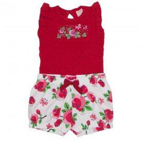 conjunto body de cotton vermelho e shorts de tricoline estampado 0037