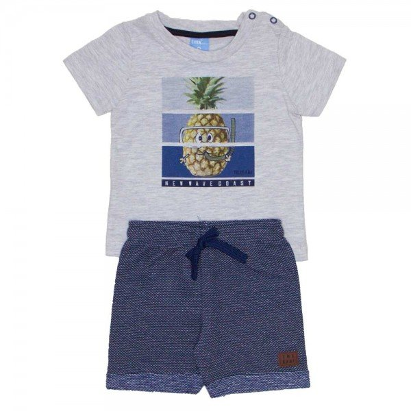 conjunto camiseta abacaxi mescla light marinho 4029