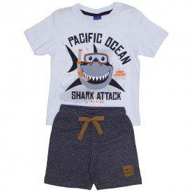 conjunto infantil menino camiseta branca pacific ocean e bermuda de moletom ecologico preto 5252