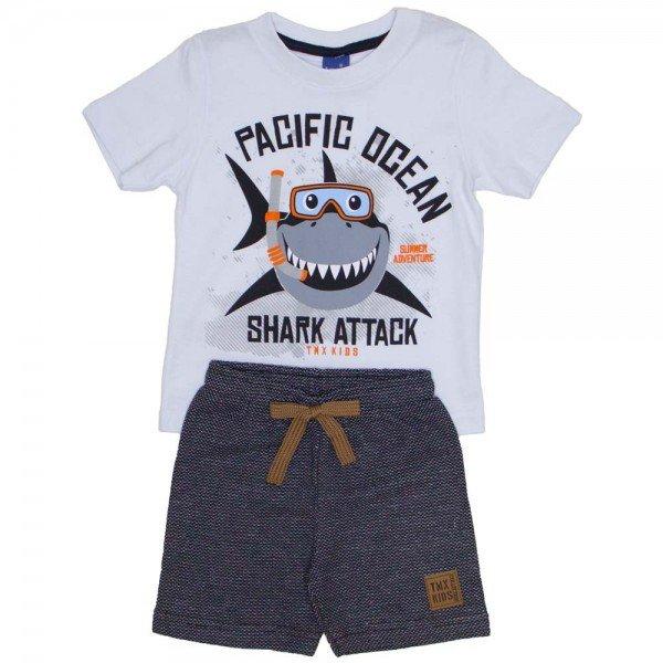 8f2088db9c conjunto infantil menino camiseta branca pacific ocean e bermuda de moletom  ecologico preto 5252