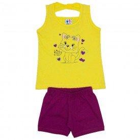 conjunto menina amarelo detalhe strass shorts magenta wki 291 ama 01