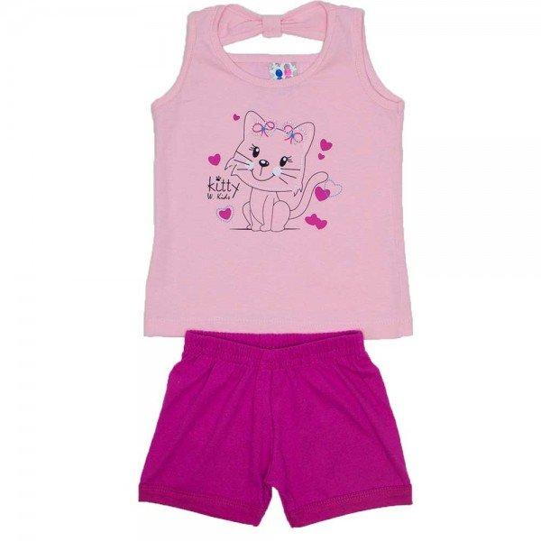 conjunto menina rosa detalhe strass shorts magenta wki 291 ros 01