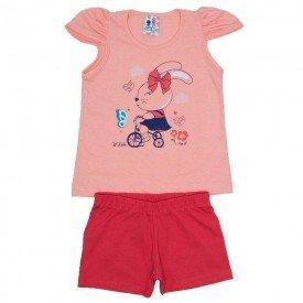 conjunto menina salmao detalhe strass shorts magenta wki 291 sal 01