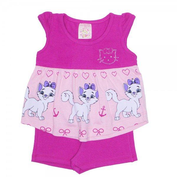 conjunto bata rosa manga com strass e shorts cotton pink ale 2415 pink 01