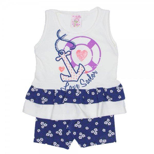 conjunto bata off cotton com babados e shorts azul ale 2410 off 01
