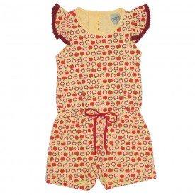 macaquinho menina de cotton estampa maca amarelo did 7574 ama 01