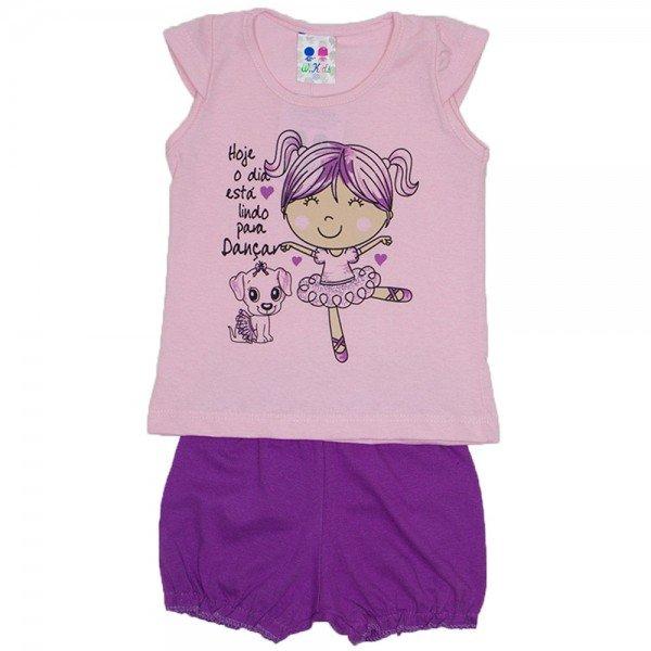 conjunto menina rosa bebe silk bailarina e short bombachinha wkd 199 rob 01