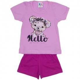 conjunto menina rosa silk hello urso e short wkd 198 ros 01