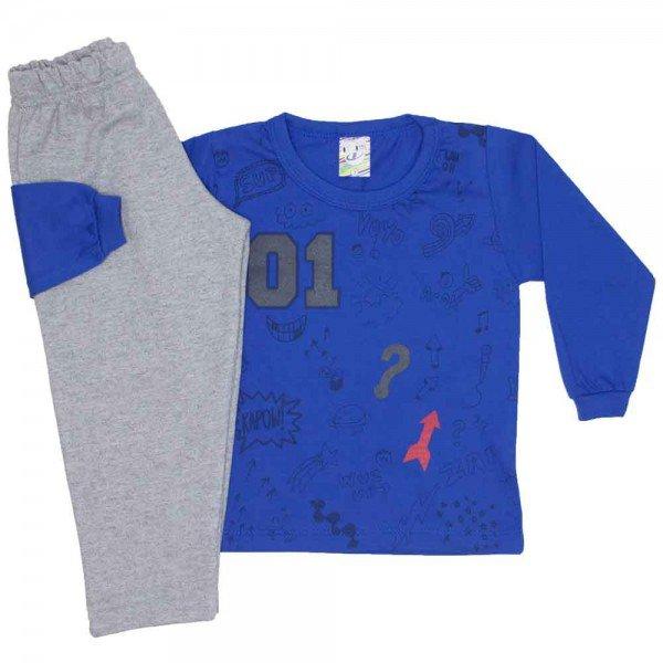 conjunto menino inverno desenhos diversos azul 0326