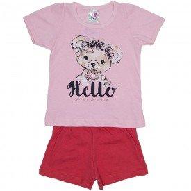 conjunto menina rosa bebe silk hello urso e short wkd 198 rob 02
