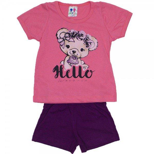 conjunto menina papoula silk hello urso e shorts wkd 198 pap 01