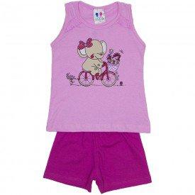 conjunto menina rosa silk elefante com glitter e shorts wkd 195 ros 02