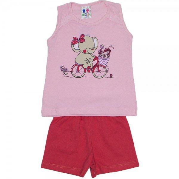 conjunto menina rosa bebe silk elefante com glitter e shorts wkd 195 rob 02