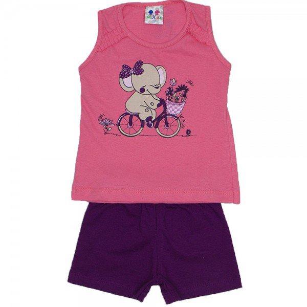 conjunto menina papoula silk elefante com glitter e shorts wkd 195 pap 01